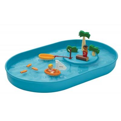 Joc cu insula, barcuta si mare albastra