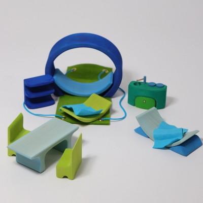Mini casuta papusii, albastru-verde