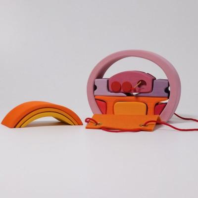 Mini casuta papusii, roz-portocaliu